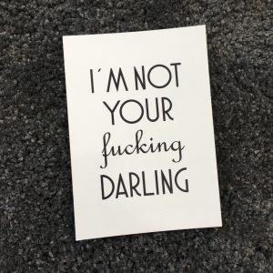 erbsünde Postkarte fucking darling Geschenk