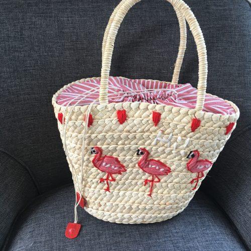Strohtasche Flamingo Strandkorb Strandtasche