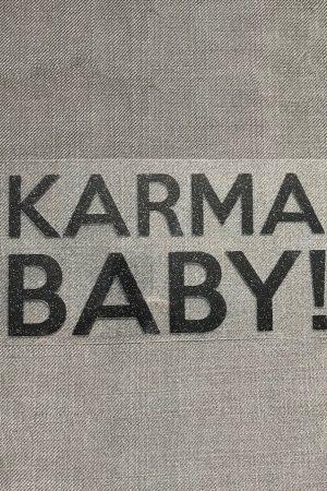 Bügelbild Karma Baby schwarzer Glitzer Statement