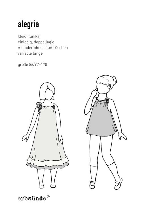 Schnittmuster Alegria Kleid Mädchen Rüschen Tunika Papierschnitt