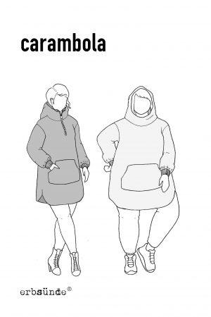 papierschnitt Schnittmuster Damen Poncho Pullover Kapuze Bauchtasche erbsuende