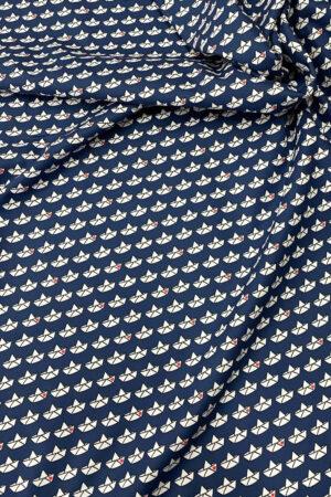 Stoff meterware bestellen Baumwolle Boote Bötchen Cherry Picking grafisches Muster schwarz weiss