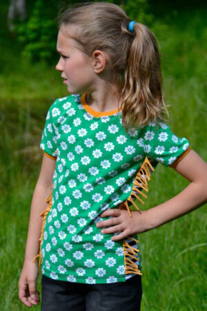 ebook Schnittmuster Kinder T-shirt Shirt Langarmshirt Fransen Einsatz Camisa erbsuende
