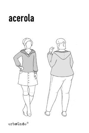 Papierschnitt Schnittmuster Damen Pullover Kapuzenkragen Kapuze Trompetenaermel erbsuende Acerola